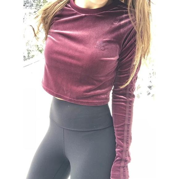 ce760e8d3 adidas Tops   Velvet Crop Top Sweatshirt Burgundy   Poshmark